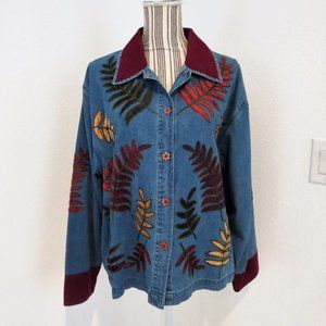Denim Jean Button Down Shirt Top Applique Leaves